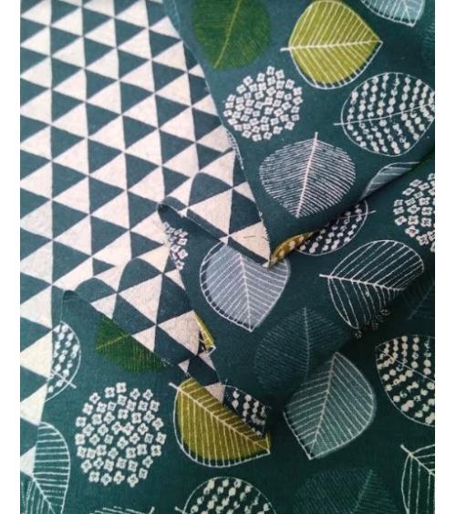 Loneta reversible Hortensias/Triángulos.