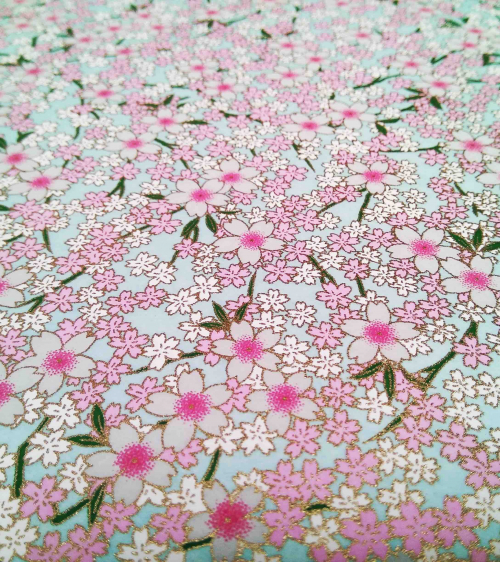 Chiyogami paper pink sakura over pale blue