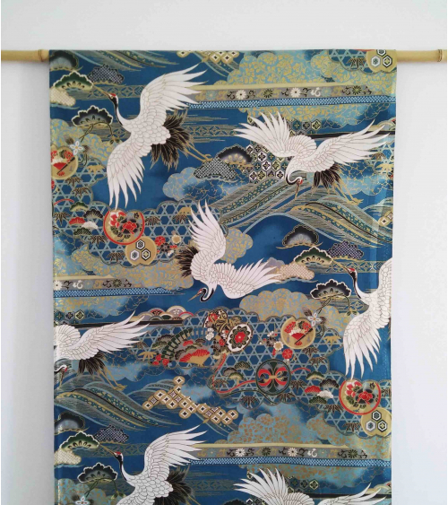 Japanese fabric. Flying Cranes over pale blue