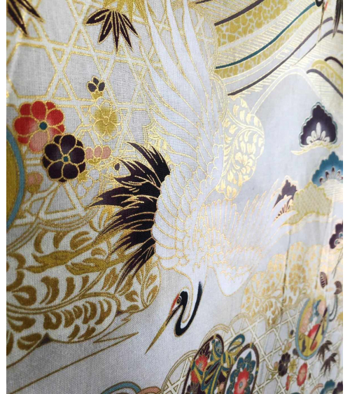 Japanese fabric. XL Flying Cranes over Ivory background