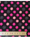 Japanese cotton fabric. Sakura flowers over black