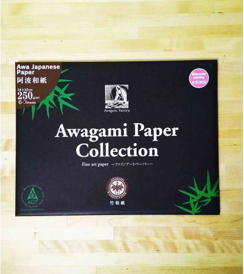 Papel Awagami Bambú acuarela.