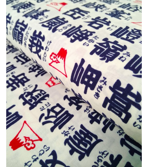 Japanese cotton fabric. Blue Kanji over off white background.