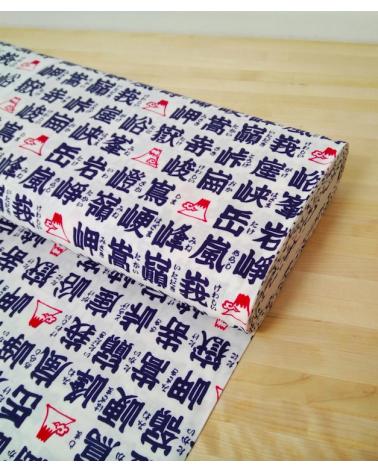 Kanji (letras japonesas) azul sobre blanco natural