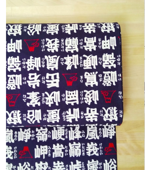 Kanji (letras japonesas) blanco sobre azul navy.