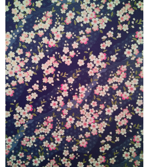 Chiyogami paper pink sakura over dark blue