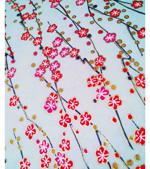 Chiyogami paper of red and pink flowers over pale blue