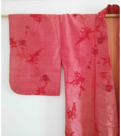 Kimono meisen coral con motivo de cardos