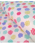 Japanese cotton fabric. Colorful Dahlias over beige.