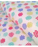 Tela japonesa. Dalias multicolores