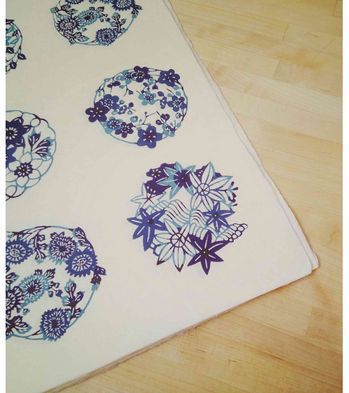 Papel Katazome con motivos de flores en azules