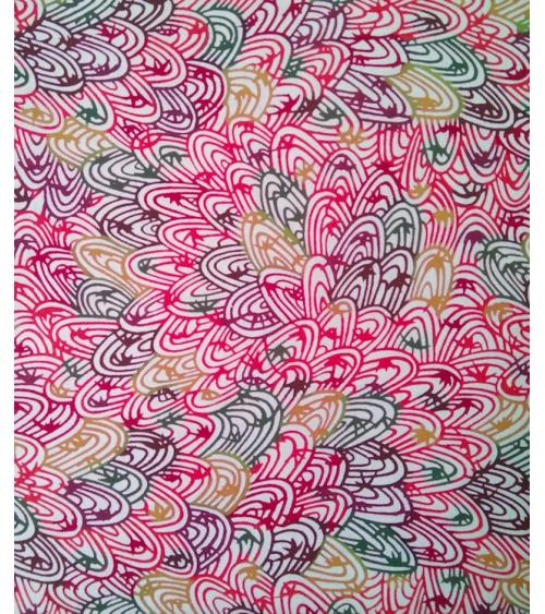 Katazome paper. Reddish curly pattern.