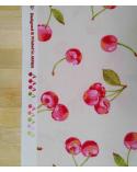"Loneta japonesa ""Cerezas"" con fondo crudo"