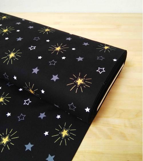 Japanese fabric. Stars over black