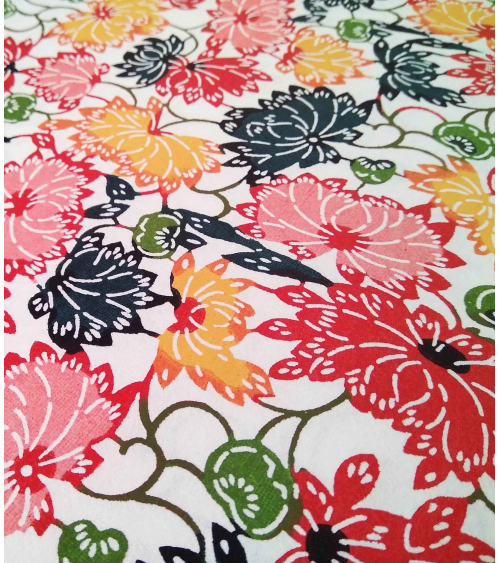 Katazome paper. Multicolored flowers.