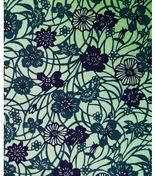 Papel Katazome Shi con flores en verde