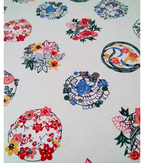 Papel Katazome con motivos de flores en círculo