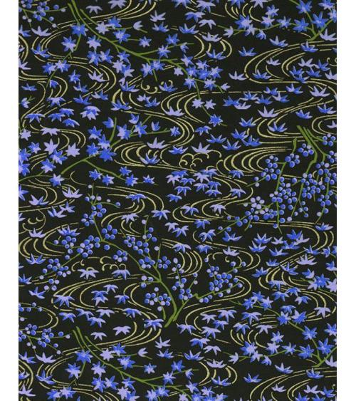 Papel Chiyogami de hojas de arce azules con lineas curvas doradas