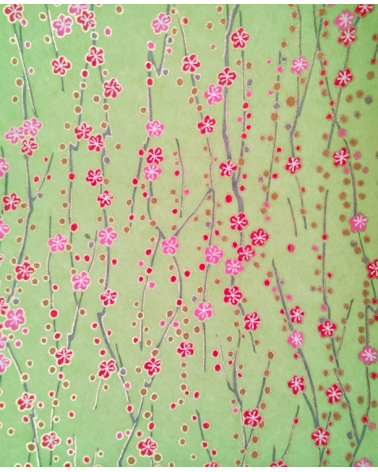 Chiyogami paper of red and pink flowers over pale green