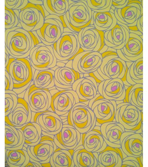 Chiyogami japonés de rosas en amarillo con centro magenta