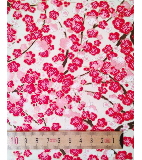 Chiyogami paper with pink and red ume on beige