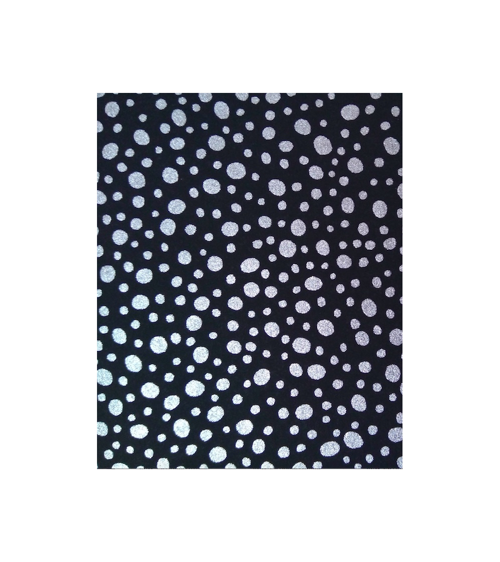 Papel Chiyogami puntos plata sobre fondo negro.