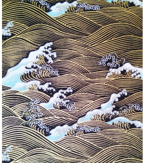 Chiyogami paper, Golden waves over black background.
