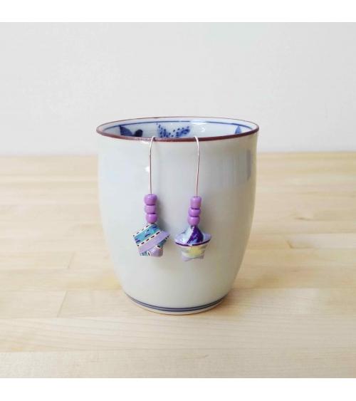 Pendientes estrellitas origami azul y lila en plata