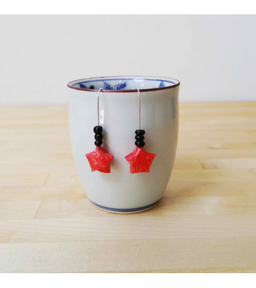 Black and red origami stars Earrings. Silver.