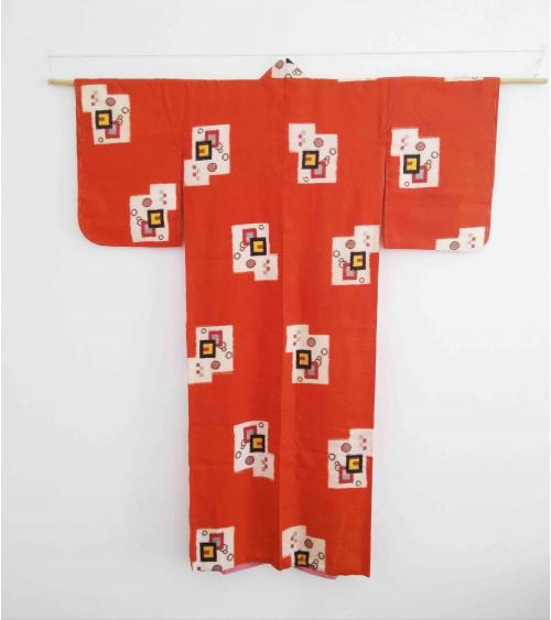 Meisen orange kimono with geometric pattern
