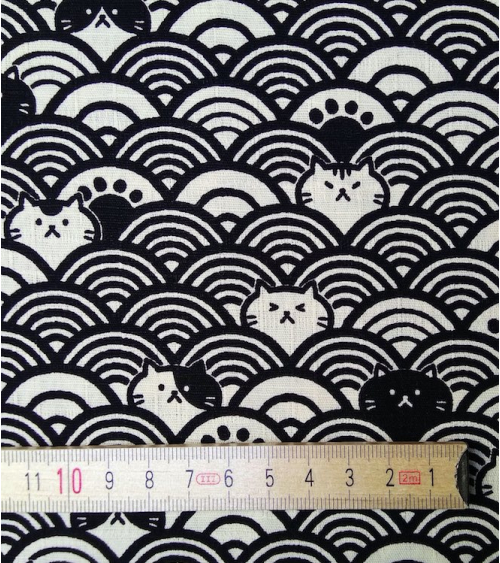 Japanese dobby fabric. Cats and seigaiha over off white.