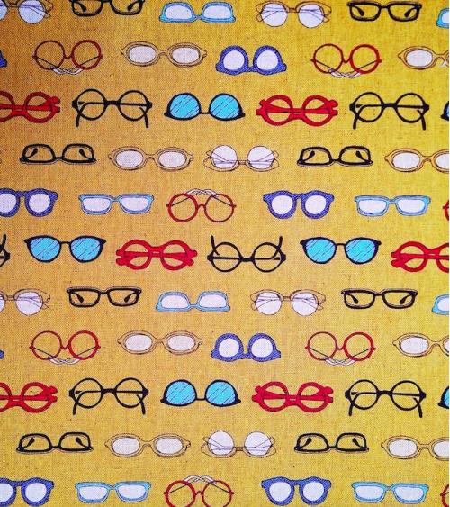 Japanese fabric. Glasses over mustard yellow.