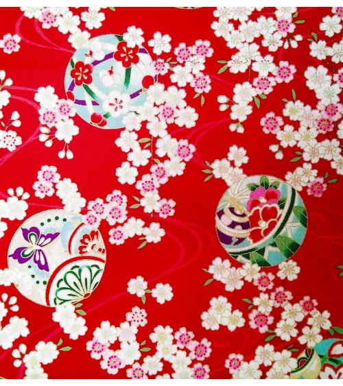 Japanese fabric. Sakura and temari over red.
