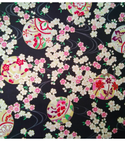 Japanese fabric. Sakura and temari over black.