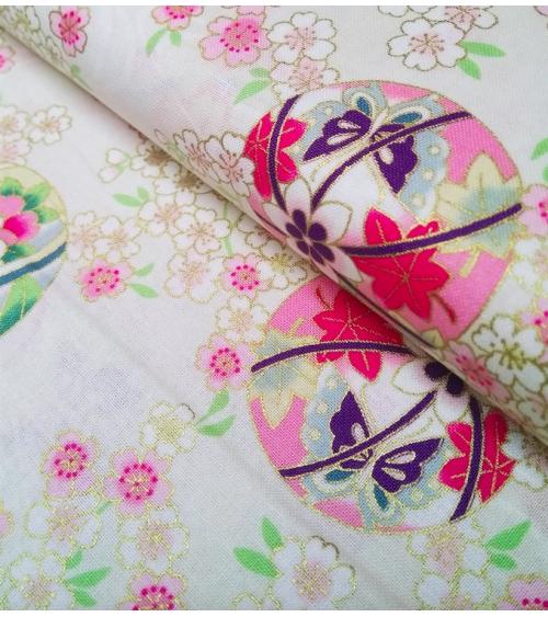 Japanese fabric. Sakura and temari over ivory.