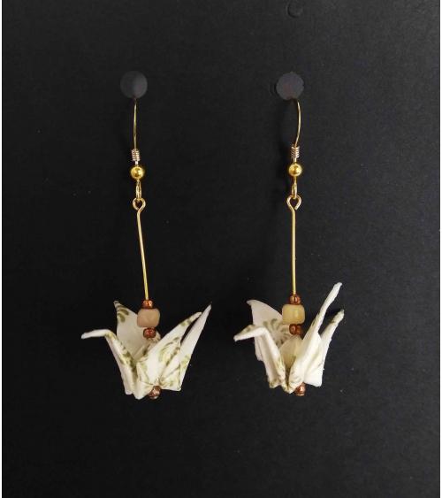 Pendientes grullas origami blanco y oro. Goldfilled