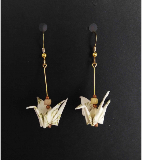 White and golden origami crane Earrings. Goldfilled.