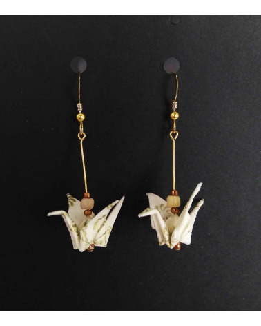 Pendientes grullas blanco y oro. Goldfilled