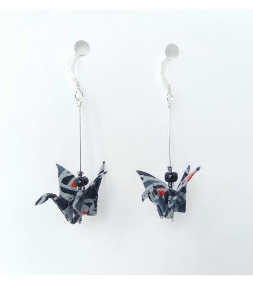 Black-grey-red origami cranes Earrings. Silver.