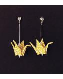 Pendientes grullas origami amarillos con bolita de plata