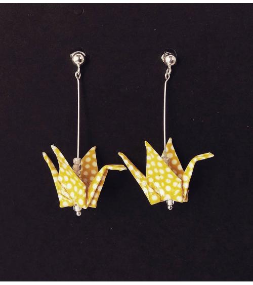Yellow polka dots origami cranes Earrings. Silver.