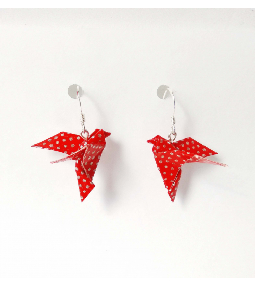 Red-silver origami doves Earrings. Silver.