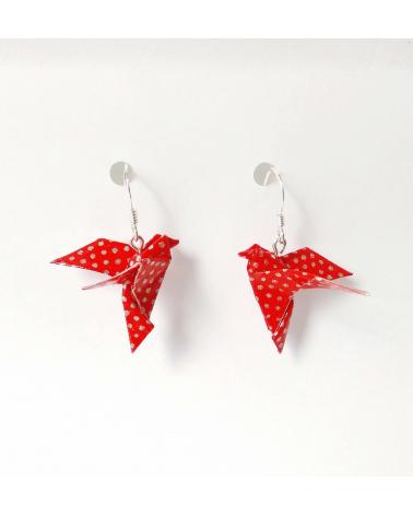 Pendientes palomas origami rojo y plata