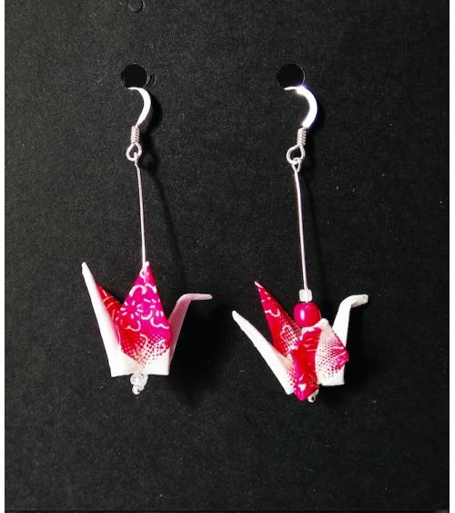 Pink origami cranes Earrings. Silver.