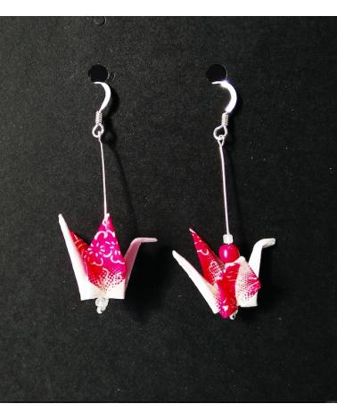 Pendientes grullas origami rosa en plata