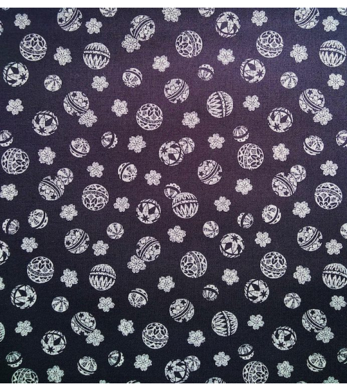 Japanese cotton fabric. Temari over indigo blue