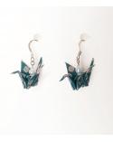 Pendientes grullas origami azul y plata en plata