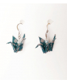 Blue-silver origami cranes Earrings. Sterling silver.