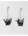black-silver origami cranes Earrings. Sterling Silver.