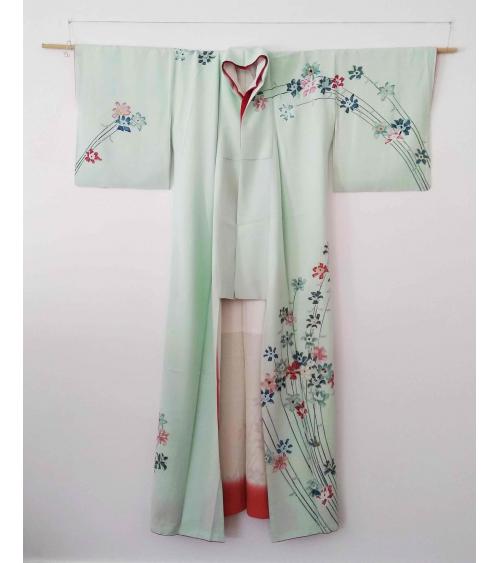 Kimono mint con flores pintadas a mano